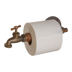 Nine & Twenty - Industrial Faucet Toilet Paper Holder - Let your guests wonder how you change the roll. Don't tell them that the faucet easily unscrews.