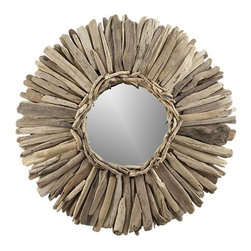 Driftwood Mirror - Use your walls in a small space and place a pretty driftwood mirror. I love the mix of the round mirror with the straight lines of the wood — perfect balance!