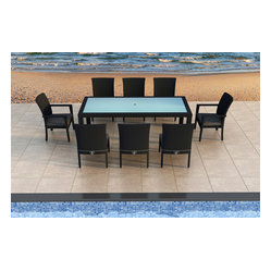 Urbana 9-Piece Modern Patio Dining Set, Charcoal Cushions