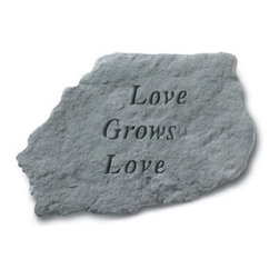 Kay Berry - Love Grows Love Garden Accent Stone Multicolor - 63420 - Shop for Statues and Sculptures from Hayneedle.com! The Love Grows Love Garden Accent Stone is a brightening addition to any plot. The cast stone construction ensures that this piece will not crack or chip from exposure to inclement weather establishing years of optimism in your garden.About Kay Berry ProductsProudly hand-cast in the USA Kay Berry products offer kind sentiments and quality decor. From whimsical to poignant the verses on Kay Berry products are thoughtful and serve as a fine way to add both beauty and comfort wherever they're placed. Artisans craft Kay Berry designs from actual stone originals. Kay Berry products are meticulously reproduced using materials and methods developed in ancient Rome. Since the family-owned company's inception in 1991 pride and honor go into each and every Kay Berry item.Please note this product does not ship to Pennsylvania.