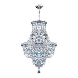 Worldwide Lighting - Worldwide Lighting W83032C18 Empire 12-Light Chrome Finish Chandelier - Worldwide Lighting W83032C18 Empire 12-Light Chrome Finish with Clear Crystal Chandelier