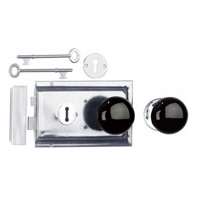 "Renovators Supply - Rim Locks Chrome Plated/Black Knob Rim Lock 4.88"" L x 3.25"" H 