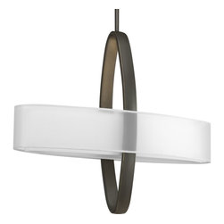 """Progress Lighting - P5058-20EBWB Progress Lighting Cuddle - Progress Lighting P5058 EBWB Cuddle 2-Light Fluorescent Large Pendant Cuddle 2-Light Large Pendant is comprised of a sculptural play of intersecting ov. This Progress Lighting product is available in antique bronze. Illuminated by two 26-watt compact fluorescent bulbs. Mylar Outside Linen Inside. Title 24 Compliant. Width: 24"""". Height: 21"""". Extension: 7""""."""