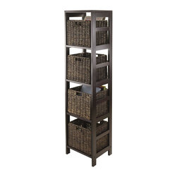 Winsome Wood - Tower Storage Unit - Includes four foldable baskets. Perfect to storage and organized goodies. Made from solid, composite wood and corn husk. Espresso, chocolate finish. Assembly required. Open basket: 11.02 in. W x 10.24 in. D x 9.06 in. H. Folded basket: 19.88 in. W x 9.45 in. D x 2.36 in. H. Storage unit: 13.39 in. W x 11.22 in. D x 54.8 in. H