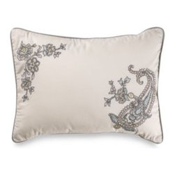Laura Ashley - Laura Ashley Berkley Oblong Toss Pillow - This embroidered toss pillow features paisley and floral embroidery in front with contrast cording to create an elegant accent piece that complements the quiet sophistication of the Berkley collection. 100% cotton cover with 100% polyester filberfill.
