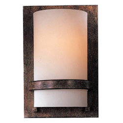 Minka Lavery - Minka Lavery 342-357-PL 1 Light Wall Sconce in Iron Oxide with Etched Opal Glass - 120v LVS ElectronicADA Compliant: Yes Bulb Included: No Bulb Type: Fluorescent Eco: Yes Energy Star Compliant: Yes Extension: 4 Finish: Iron Oxide Glass Shade: Etched Opal Glass Height: 10 Light Direction: Ambient Lighting Number of Lights: 1 Sconce Type: Wall Washers Style: Contemporary Transitional Suggested Room Fit: Bathroom, Bedroom, Dining Room, Family Room, Foyer, Kitchen, Living Room Voltage: 120 Wattage: 13 Weight: 3.63 Width: 6-3 4