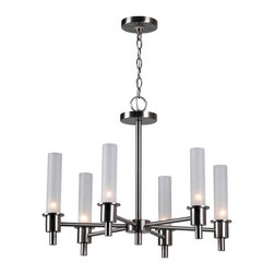 World Imports - Dunwoody 6-Light Chandelier with Cylinder Glass, Satin Nickel - 6 lights