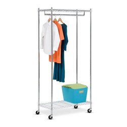 Urban Garment Rack- Deluxe Chrome - Honey-Can-Do GAR-01120 Heavy Duty Chrome, Rolling Garment Rack. This sturdy garment rack is made from a steel construction and goes from room to room on smooth rolling swivel casters that easily lock in place. The hanging bars adjust to accommodate short or long garments and are perfect for managing out-of-season clothing, outdoor gear, or items hung to dry in the laundry room. Steel shelving above and below offers ample storage space for other essentials.