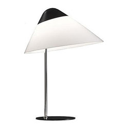 Carl Hansen & Son - Pandul Opala B01 Lamp Black Top and Base, by Carl Hansen - Mushroom goes modern on this table lamp, an ideal addition to your favorite setting. The classic black and white combo looks great just about anywhere, while the contrast of the wide acrylic shade and slim chrome base lends interest.