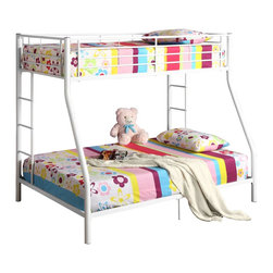 Walker Edison - Walker Edison Sunrise Metal Twin/Double Bunk Bed - White X-HWDOTB - This simple, yet contemporary twin-over-double bunk bed conveys chic style with its clean lines and beautiful finish. The sturdy, steel-crafted frame promises stability and function to support up to 250 pounds. Designed with safety in mind, this bunk bed includes full length guardrails and two integrated ladders for dual access to the top bunk. An ideal space-saver and a perfect addition for growing families.Features:&#8226: Stylish, contemporary design&#8226: Sturdy, steel construction&#8226: Support slats included, no box spring needed&#8226: Each bunk supports 250 lbs.&#8226: Attractive, powder-coated finish&#8226: Conforms to the latest consumer product safety standards&#8226: Ideal for space-saving needs&#8226: Maximum recommended upper mattress thickness of 9 in.&#8226: Does NOT include mattresses or bedding&#8226: Ships ready-to-assemble with necessary hardware and tools&#8226: Assembly instructions included with toll-free number and online support