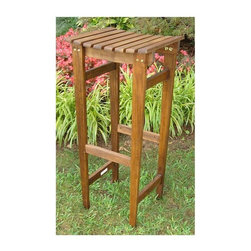 International Caravan - Outdoor Backless Bar Stool - Set of 2 - Set of 2. All weather and UV light fading protection coating. Perfect for all outdoor or indoor bar areas. Made from premium durable acacia hardwood. Dual stain premium finish. Made in Vietnam. Assembly required. 15 in. W x 14 in. D x 30 in. H (15 lbs.)