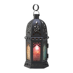 """Koehler Home Decor - Koehler Home Decor Enchanted Rainbow Candle Lantern - Tuck a candle inside this artistic lamp, and enjoy a dazzling spectrum of blazing colors Ornate metalwork and a variety of stained glass panels combine for a truly theatrical effect. Weight 0.7 lb. 4.12"""" diameter X 10.5"""" high.Weight 0.7 lb. Size:4.12"""" diameter X 10.5"""" high."""