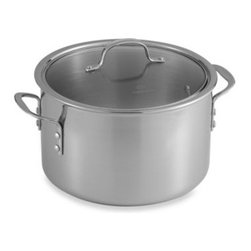 Calphalon - Calphalon Tri-Ply Stainless Steel 8-Quart Stockpot with Lid - Classically styled with a polished stainless steel exterior and a satin finished interior, Calphalon Tri-Ply Stainless Steel cookware is designed with three layers to ensure even, consistent heating.