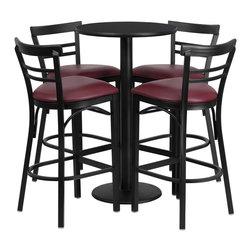 Flash Furniture - Flash Furniture Restaurant Furniture Table and Chairs X-GG-7301BRSR - 24'' Round Black Laminate Table Set with 4 Ladder Back Metal Bar Stools - Burgundy Vinyl Seat [RSRB1037-GG]