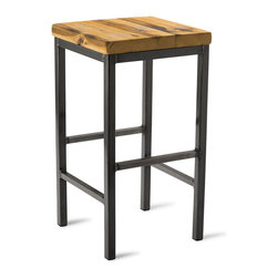 "Vermont Farm Table - Square Metal Stool, Reclaimed Pine, 25""h - A warm wood finish is the perfect complement to the cool metal base of this industrial stool. Choose from three heights to match your counter and you'll be sitting in style. It's the perfect look for a modern home kitchen."