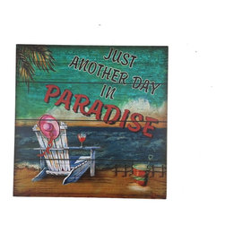Handcrafted Nautical Decor - Wooden Just Another Day In Paradise Beach Sign 12'' - This Wooden Just Another Day In Paradise Beach Sign 12'' is a great beach wall decor item to hang in your beach home. This square beach sign will light up a room with its vibrant beach colors and has a message that will resonate with beach enthusiasts everywhere!----12'' L x 1'' W x 12'' H----    Handcrafted from wood by our master artisans--    --    Beach sign is a scene showing a beach chair, sand bucket, and a cocktail--    --    Sign reads ''Just Another Day In Paradise''--