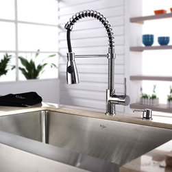 Kraus - Single Lever Pull Out Kitchen Mixer Chrome - Update the look of your kitchen with this multi-functional Kraus pull-out faucet. Kraus kitchen faucet blends quality and durability with elegance and style. Faucet is constructed from solid brass with stunning triple plated chrome finish. Features dual pull-out spray head with an aerated flow or a powerful spray. Spring-tensioned retractable hose. Spout swivels 360-degrees. Contains Sedal drip-free ceramic cartridge. Hermetically sealed with adjustable temperature and flow rate limitation. Single-lever water and temperature control. Single-hole, top-mount installation. Water pressure tested for industry standard. Standard US plumbing connections. 2.2 GPM flow rate. Installation in a 1.375-inch hole. All mounting hardware and hot/cold waterlines are included. Faucet height: 20 inches. Spout height: 6.1 inches. Spout reach: 9.5 inches. Hose measures 36 inches long. ADA compliant. 5 Years Limited Manufacturer WarrantyInstruction Manual