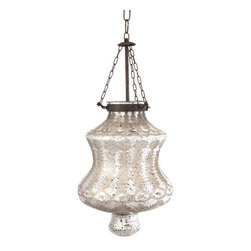 """Cadel Etched Glass Pendant Light - Etched silver mercury glass and iron chain add a strikingly beautiful appearance to the Cadel pendant light. This hard wired pendant light comes complete with a ceiling cap, cord length of 58.5"""" and holds 60 Watt Type B or 13 Watt CFL bulb."""