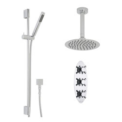 """Hudson Reed - Traditional Kristal 2 Outlet Shower System - 8"""" Rain Ceiling Head & Handset Kit - Supplied with the triple thermostatic shower valve, 8"""" fixed shower head with arm and the slide rail kit with handset, the Kubix thermostatic shower system from Hudson Reed is perfect for adding modern style to any bathroom. Made in Great Britain from solid brass, the durable thermostatic shower valve provides smooth and accurate control over the flow and temperature of the water. Featuring a chrome finish, the shower valve incorporates a built-in anti-scald device for a safer showering experience."""