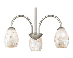 Design Classics Lighting - Chandelier with Mosaic Glass in Satin Nickel Finish - 592-09 GL1034 - Mosaic glass satin nickel 5-light chandelier with oblong shades. Takes (3) 100-watt incandescent A19 bulb(s). Bulb(s) sold separately. UL listed. Dry location rated.