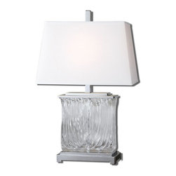 Uttermost - Uttermost 26596 Mosley Textured Glass Transitional Table Lamp - Thick textured art glass accented with polished nickel plated details. The tapered rectangle hardback shade is a white linen fabric.