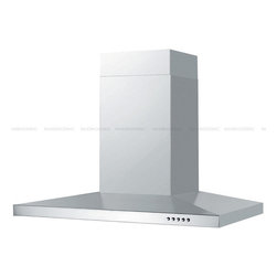 "Spagna Vetro - SPAGNA VETRO 24; SV198F4-24 Wall-Mounted Stainless Steel Range Hood - Mounting version - Wall Mounted 860 CFM centrifugal blower Three-speed mechanical, soft-touch push button control panel Two 35W halogen lights (Type: GU-10) Aluminum multi-layers micro-cell dishwasher-friendly grease filter(s) Machine crafted stainless steel (brushed finish) 6"" round duct vent exhaust and back draft damper Telescopic flue accommodates 8ft to 9ft ceilings (optional flue extension available for up to 12ft ceiling) Full Seamless Stainless Steel For residential use only, one-year limited factory warranty"