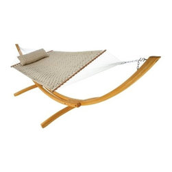 """Hatteras Hammocks - Large Soft Weave Hammock, Antique Beige - Like wicker-woven thatchworks of plush fabric ribbons, our inviting Soft Weave® Hammocks not only appear handsomely distinct, but with their 1-inch layer of polyester fiberfill batting, they also yield an uncanny level of cushiony comfort. The soft, all weather, solution-dyed fabric means many seasons of great-looking, great-feeling reclining ahead. Spreader bars are natural-finish South American cumaru, among the hardest, densest, prettiest woods on Earth, while hanging chains and hardware are zinc-plated steel, for an even further boost to these wholly uncommon hammocks' exceptional looks and outstanding weatherability. The Soft Weave® Deluxe hammock Pillow, sold separately, features the same striking crosshatch weave of padded fabric ribbons, but set atop a think cushion of polyester fiberfill batting.   Hammock Stand and pillow sold separately.  Total length 13', bed size 55""""x82""""."""