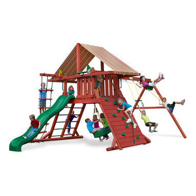 Gorilla Playsets - Sun Climber Swing Set With Sunbrella Brannon Redwood, I - The Sun Climber I Swing Set with Sunbrella Brannon Redwood Canopy by Gorilla Playsets will keep the family playing all year long! This swing set was designed to keep kids busy with a rock wall and a rope ladder, all while building strength and coordination. The play deck is protected with an authentic Sunbrella canopy. This premium cedar wood playset is pre-cut, pre-sanded, pre-stained and ready to assemble in your backyard over the weekend. The entire playset is finished in a beautiful redwood stain.  Gorilla Playsets' cedar naturally resists rot, decay, and insect damage.