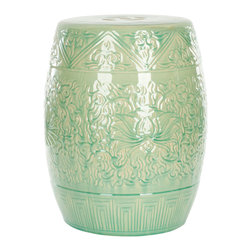 """Safavieh - Lotus Lime Indoor/Outdoor Garden Stool - Channeling globally-inspired design, the Lotus garden stool delivers a versatile seat to indoor and outdoor spaces. Made from high-fired ceramic, this cylindrical, light green accessory delights with beautiful embossed flowers and vines. Wipe clean with damp cloth. 13.7""""W x 13.7""""D x 18.5""""H."""