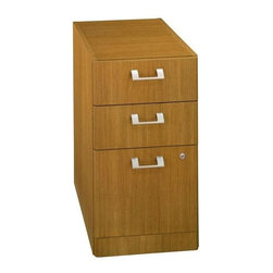 Bush Business - Modern Cherry Office Cabinet w 3 Drawers - Modern cherry finished, this office filing cabinet with full extension ball-bearing slides gives you suitable storage space.  With three drawers, equipped with contemporary, silver handles, it gives you the ability to store small or bigger items for you convenience. * Fits under all Quantum Desks and Credenzas. Ships fully assembled. Has two box drawers for supplies, and one file drawer that holds letter- or legal-size files. Full extension ball-bearing slides. 15.748 in. W x 19.094 in. D x 28.543 in. H