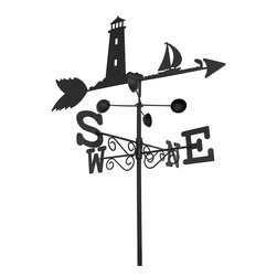 n/a - Black Metal Lighthouse and Sailboat Weathervane Garden Stake 5.5 Ft. Tall - Add a decorative, yet funcional accent to your flower bed or garden with this weathervane stake. It measures approximately 5 1/2 feet tall and indicates not only the direction but the speed of the wind, as well. The top with the lighthouse and the arrow measures 20 1/2 inches long, 12 inches tall, and the directional indicators are 16 inches long by 3 inches high, making them easy to read from a distance.