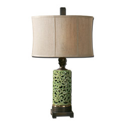 Uttermost - Fiora Ceramic Table Lamp - This Asian-influenced ceramic table lamp is bold in color and shape. In your home, the chartreuse crackled glaze finish will draw your eye and seize your attention. The dark bronze finial and base give it a richly sophisticated style suitable to your traditional home.