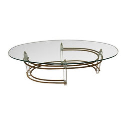 Pre-owned Lucite & Brass Based Oval Coffee Table - Hard to find oval shaped glass topped coffee table.  Glass top supported by square lucite rod with double brass stretchers. A stand-out piece that will work beautifully in vintage or Transitional spaces alike.