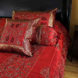 "Luxurious & Decorative Bedding Sets - Beautiful ""Ornamental Embroidered"" Indian design. 7-piece bedding set. Saffron Red color."