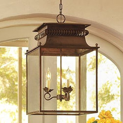 "Bolton Lantern - This large lantern would make a great statement hanging in a portico. It's already weathered so you know the look won't change. I love the details at the top.Distressed Bronze; 15"" square, 24"" high Framed in rust-resistant bronzed steel. 12' chain"