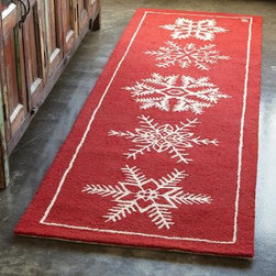 Snowflake Hooked Runner - Cold flooring in the winter is the worst! Keep your tootsies warm with this graphic snowflake runner.