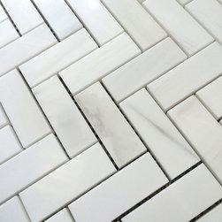 Stone & Co - Bianco Dolomiti Marble 1 x 2 1/2 Herringbone Mosaic - Finish: Polished