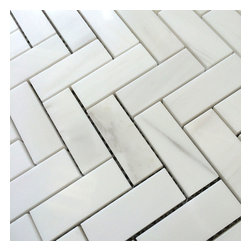 Stone & Co - Bianco Dolomiti Marble 1 x 2 1/2 Herringbone Mosaic - Finish: Polished