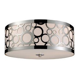 """Elk Lighting - Retrovia Modern Three-Light Metal & Opal Glass Flush Mount Ceiling Light Fixture - During The 1950'S, There Was A Renewed Sense Of Style And Design From Consumer Products To Fashion And Beyond. This Design Movement Coined The Term """"Mid-Century Modern"""" Which Became A Leading Design Movement. Finished In Polished Nickel, This Flush-Mounted Ceiling Fixture Embodies The Excitement Of The Time Period With Laser Cut Circles, Opal Etched Cylindrical Glass, And A White Diffuser That Accents The Drum. This Fixture Accommodates Three (3) 60 Watt Bulbs With A Medium Base, Which Are Not Included. It Weighs Five (5) Pounds."""
