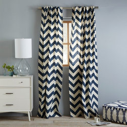 Cotton Canvas Zigzag Window Panel, Blue Lagoon - Place these stylish chevron panels in your teens' bedroom or a space that needs a little energy and character.