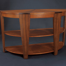 """Hammary - Oasis Demilune Sofa Table in Rich Medium Brown Finish - """"A home knows that the world of furniture design is often a vast wasteland of dullness and unoriginality. Better to be safe and uninspired, some companies believe, than to be innovative and risk taking."""