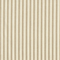 "Close to Custom Linens - 90"" Tablecloth Round Ticking Stripe with Toile Topper Linen Beige - A charming traditional ticking stripe in linen beige on a cream background. Includes a 90"" round cotton tablecloth."
