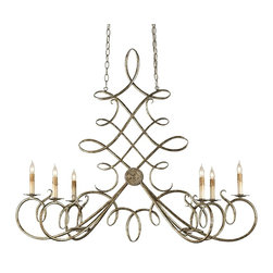 Currey and Company - Regiment Chandelier - The elaborate twists and curves of the wrought iron detailing of this chandelier give it an elegant attractive precision. An Antique Silver Leaf finish complements the beauty of the form.