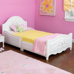 KidKraft Tiffany Toddler Bed - Your little princess will sleep in comfort and style in the Tiffany Toddler Bed. She'll feel like a big girl every time she wakes up for the day and sees this beautiful bed. This bed also features a carved ribbon tied in a bow at the head and foot and it also has a safety side to prevent your child from rolling out. The recommended age for this bed is 15 months and up and the maximum weight capacity is 50 pounds. Minor assembly required. Dimensions: 54.5L x 29.75W x 26H inches.About KidKraftKidKraft is a leading creator manufacturer and distributor of children's furniture toy gift and room accessory items. KidKraft's headquarters in Dallas Texas serve as the nerve center for the company's design operations and distribution networks. With the company mission emphasizing quality design dependability and competitive pricing KidKraft has consistently experienced double-digit growth. It is a name parents can trust for high-quality safe innovative children's toys and furniture.