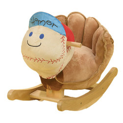 "Rockabye - Rockabye Homer Baseball Rocker - Homer our vintage baseball rocker will be a sure hit with your little all star. Press the gold star button on his hat to play our fun original song ""I love to rock"". This wonderful heirloom quality rocker also comes with 3 more songs that are fun and educational. Just press the three other shapes on homer's hat that activate original songs that teach ABC's, 1-10, colors shapes and more. Sure to please baby as well as mom and dad!"