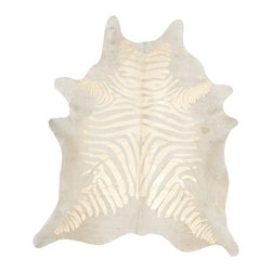 Rustic Zebra Gold on Beige Metallic Cowhide Rug - XL - Our unique rustic zebra gold on beige metallic cowhide rug provides a strong visual impact for your interior. Our hand-treated devore metallic cowhide rugs are made of the same superior quality cowhides from the rest of our collections and can last a lifetime. Metallic cowhide rugs are all unique in pattern, size, and shapes. The skin is treated with acid products, non-polluting or harmful to the cowhide, providing a unique and exceptional finish.