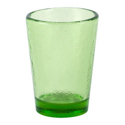 Fire & Light - Recycled Glass Tumbler, Celery Green - Beautiful, iridescent barware made from recycled glass and ready to be reused time and again with your favorite guests. The unique play of light that filters through the color of these wonderful glasses will enchant you. Made with over 91% recycled glass.
