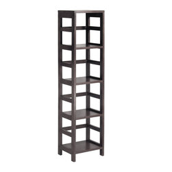 Winsomewood - Leo Shelf with 4-Tier - With its classic, sturdy design, this elegant shelving unit fulfills both style and functional requirements. Its four sections hold the Espresso small Storage Basket perfectly. Mix and match with the other Espresso Storage Shelves.