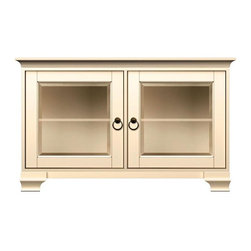 Howard Miller Custom - Kelsey Cabinet in Antique Vanilla - This product is finished in Antique Vanilla on select Hardwoods and Veneers, with Antique Brass hardware. 2 doors with beveled Glass. 2 adjustable interior shelves. Cove profile top and Ogee profile base. Hardware: ring pulls on doors. Features soft-close doors and metal shelf clips. 50 1/4 in. W x 23 1/4 in. D x 31 in. H