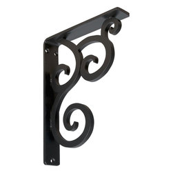 """Ekena Millwork - 1 1/2""""W  x 7 1/2""""D x 10""""H Medway Single, Wrought Iron Bracket, (Single center br - Wrought Iron Brackets provide an alternative to wood brackets and corbels. By using Wrought Iron, designers can create intricate patterns, not normally possible with wood. Our Wrought Iron Brackets are load-bearing and can be used to support several types of countertops including granite countertops. With over 10 styles available and multiple sizes, you'll be sure to find the perfect bracket for your application."""